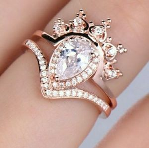 Jewelry - White Sapphire Crown Guard 18K Rose Gold Ring Set